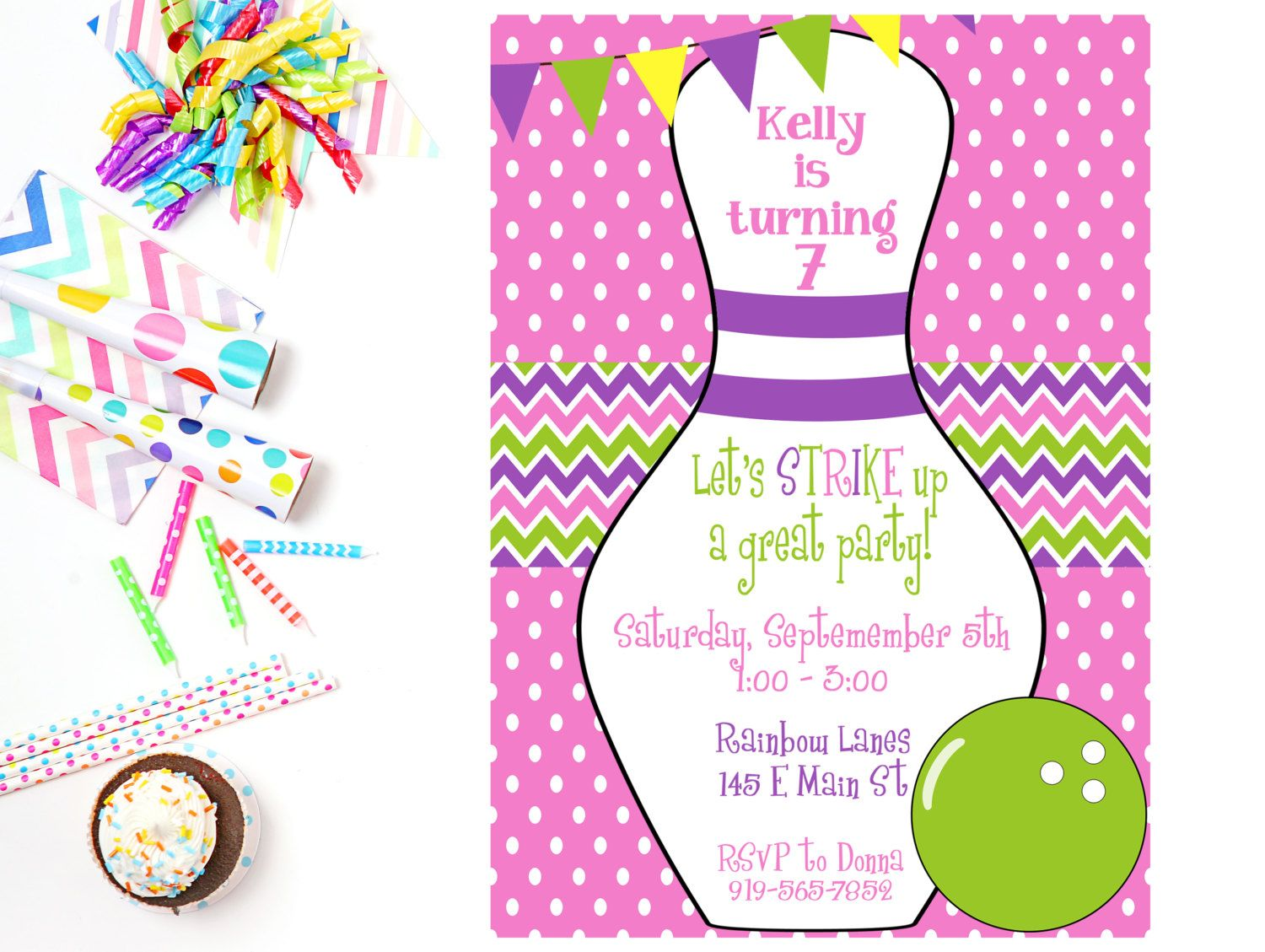 Bowling Party Invitation Bowling Party Invite Bowling Invitation