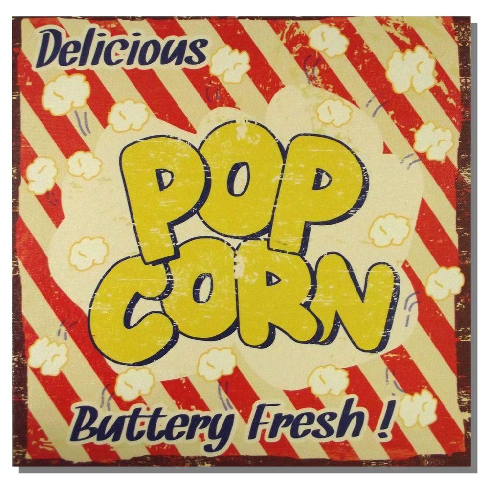 Popcorn Buttery Fresh Retro Canvas Print Wall Art Food Sign *28cm ...