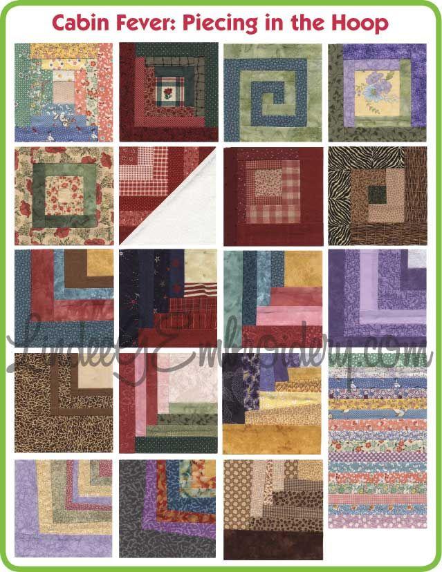 Cabin Fever - Pieced in the Hoop quilt blocks machine embroidery ... : machine quilting hoop - Adamdwight.com