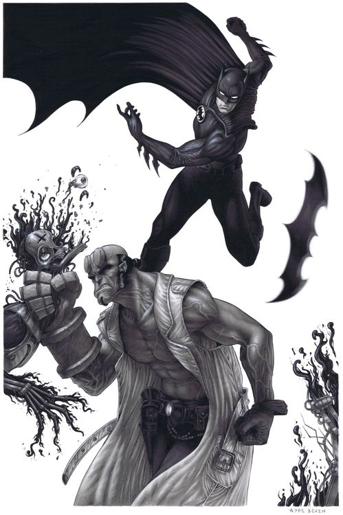 Batman & Hellboy by Aype Beven