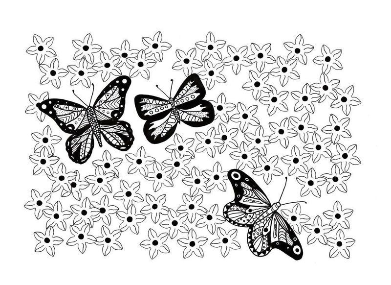 Easy Butterfly Garden Coloring Page Garden Coloring Pages Coloring Pages Coloring Pages For Kids
