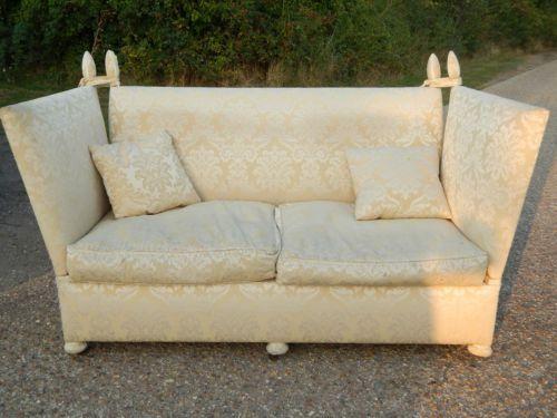 Knowle Sofa 2 Seat Sofa Gold Cream Silk Fabric Sofa Vintage Drop Ends High Back Gold Sofa Vintage Sofa Fabric Sofa