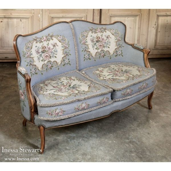 Antique Furniture | Antique French Louis XV Needlepoint Sofa |  www.inessa.com - Antique Furniture Antique French Louis XV Needlepoint Sofa Www