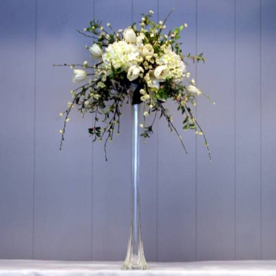 Example Of High Arrangement With Eiffel Vase Wedding Florals