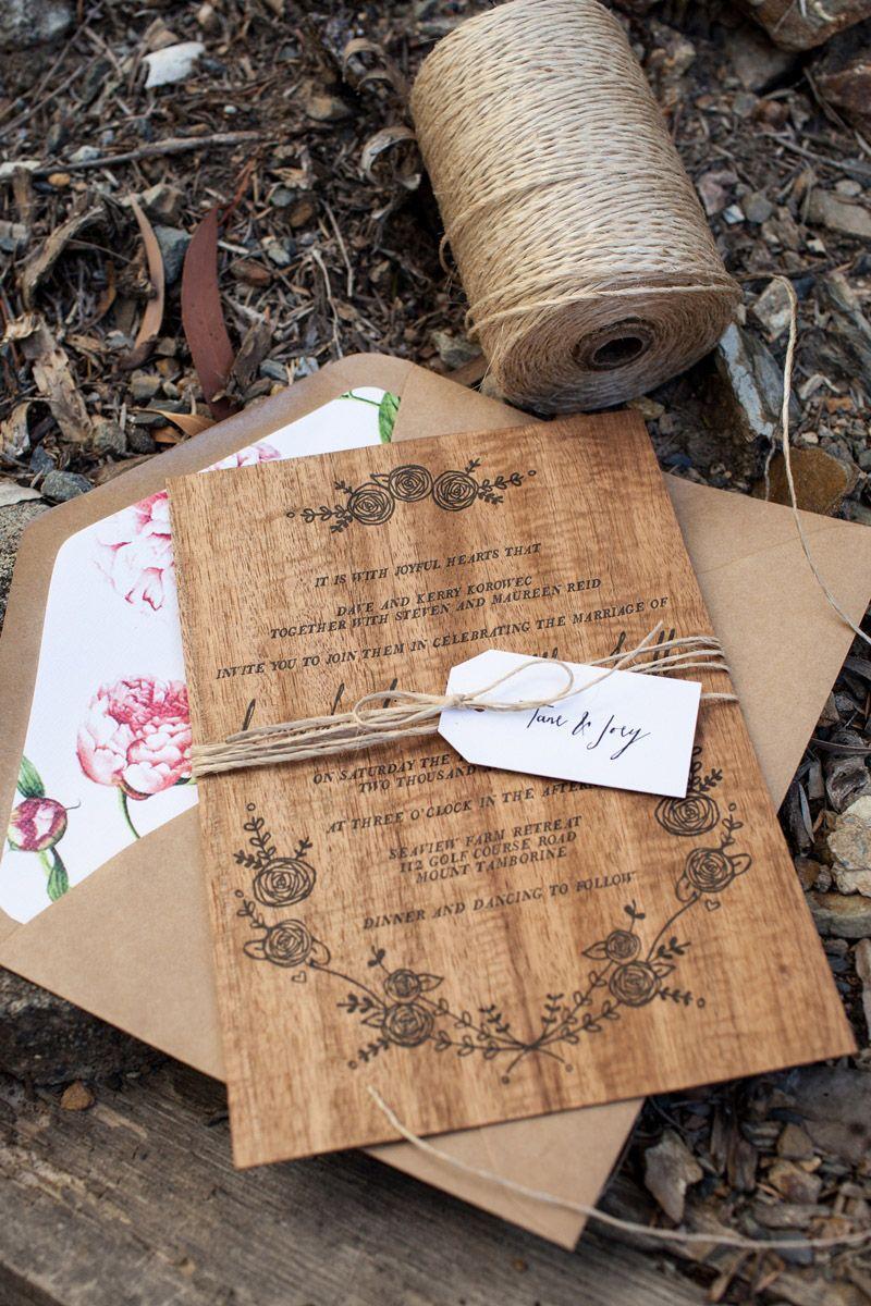 Dana Matt S Rustic Floral Wood Veneer Wedding Invitaions Oh So Beautiful Paper Des Wooden Wedding Invitations Wood Wedding Invitations Wedding Invitaions