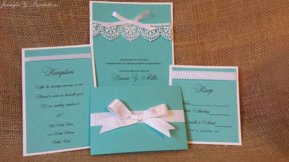 Lace Tiffany Blue and White Wedding by JenniferGinvitations
