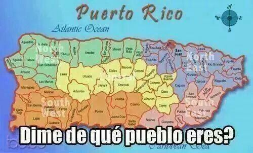 Papi es de maunabo y mami es de lares puerto rico my history color coded map of the five major regions of puerto rico and the sections within them gumiabroncs Choice Image