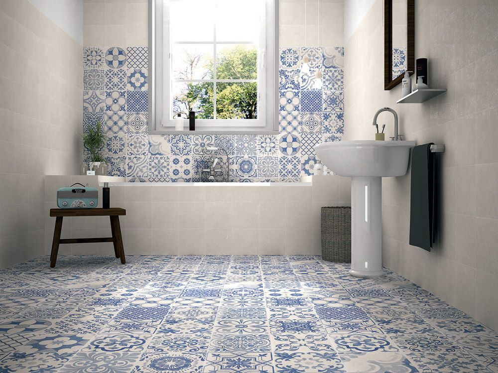 40 idee di bagno in blu e bianco bathroom tiles pinterest