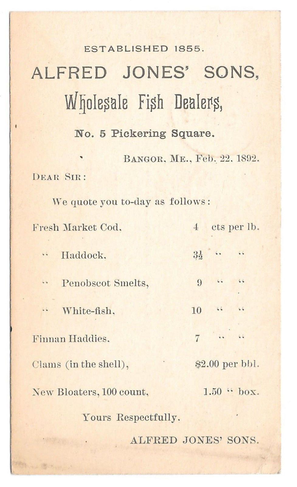 Alfred Jones' Sons, Wholesale Fish Dealers, Bangor, Maine