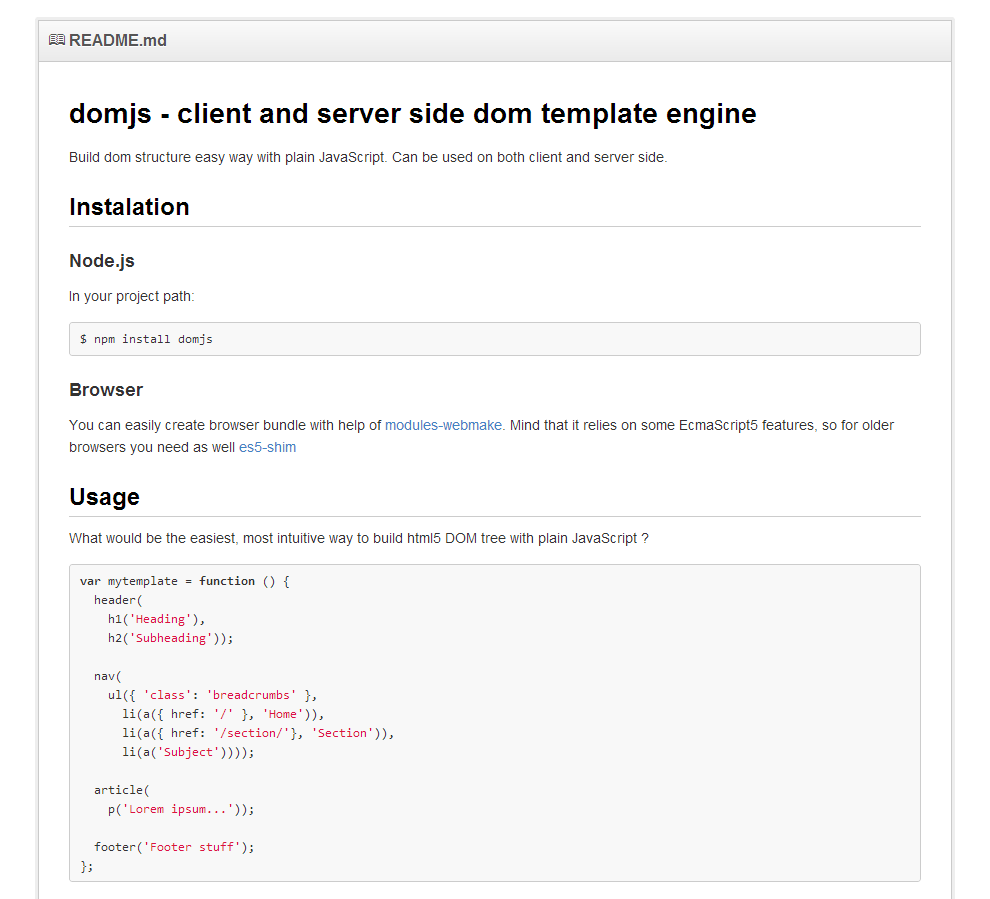 Domjs Client And Server Side Dom Template Engine Build Dom