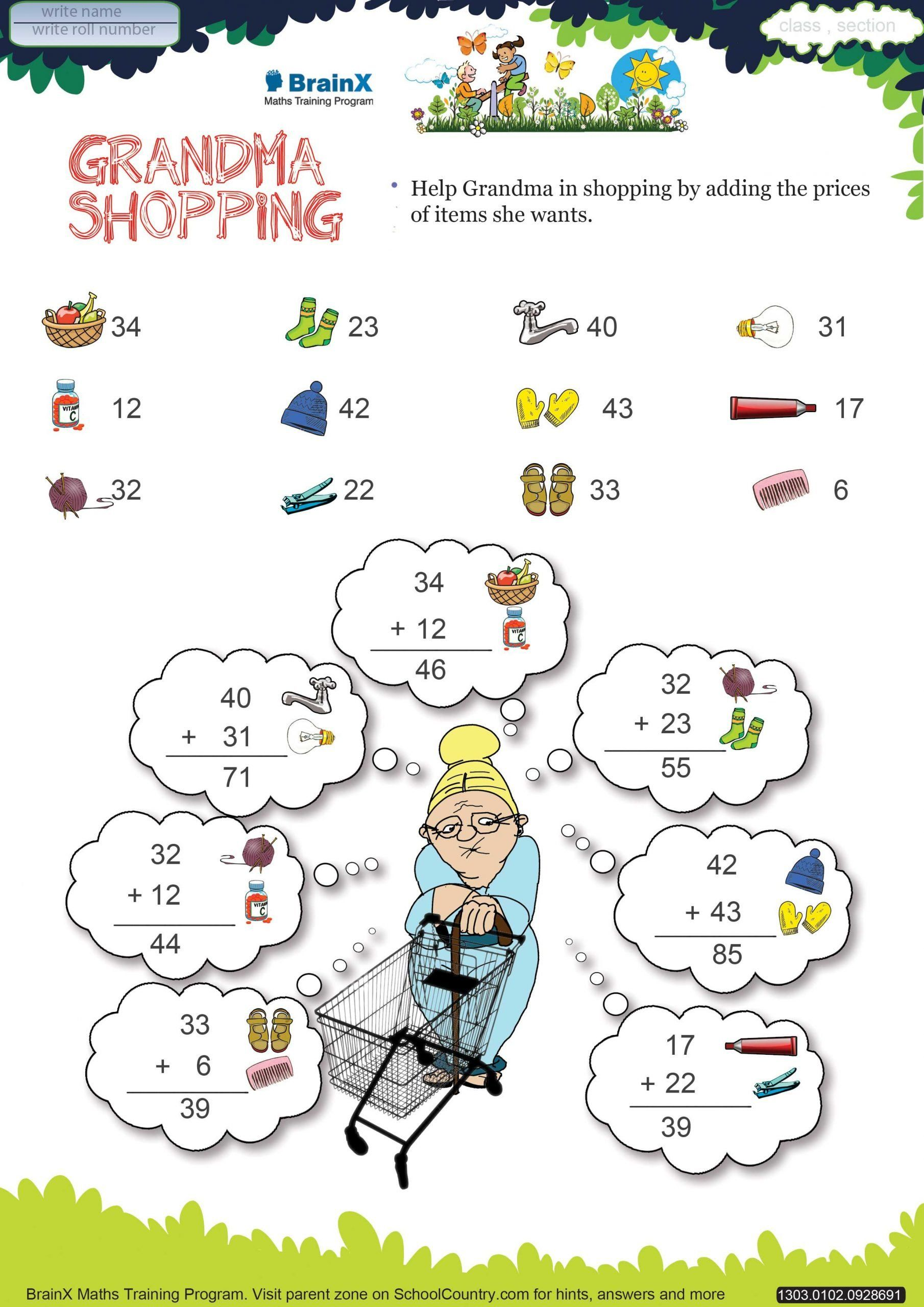Shopping Math Worksheets Printable Addition Math Olympiad