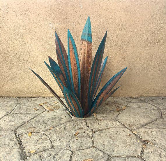 2 1/2 Foot Blue TequilaRusticSculptureMetal by TopangaPatina