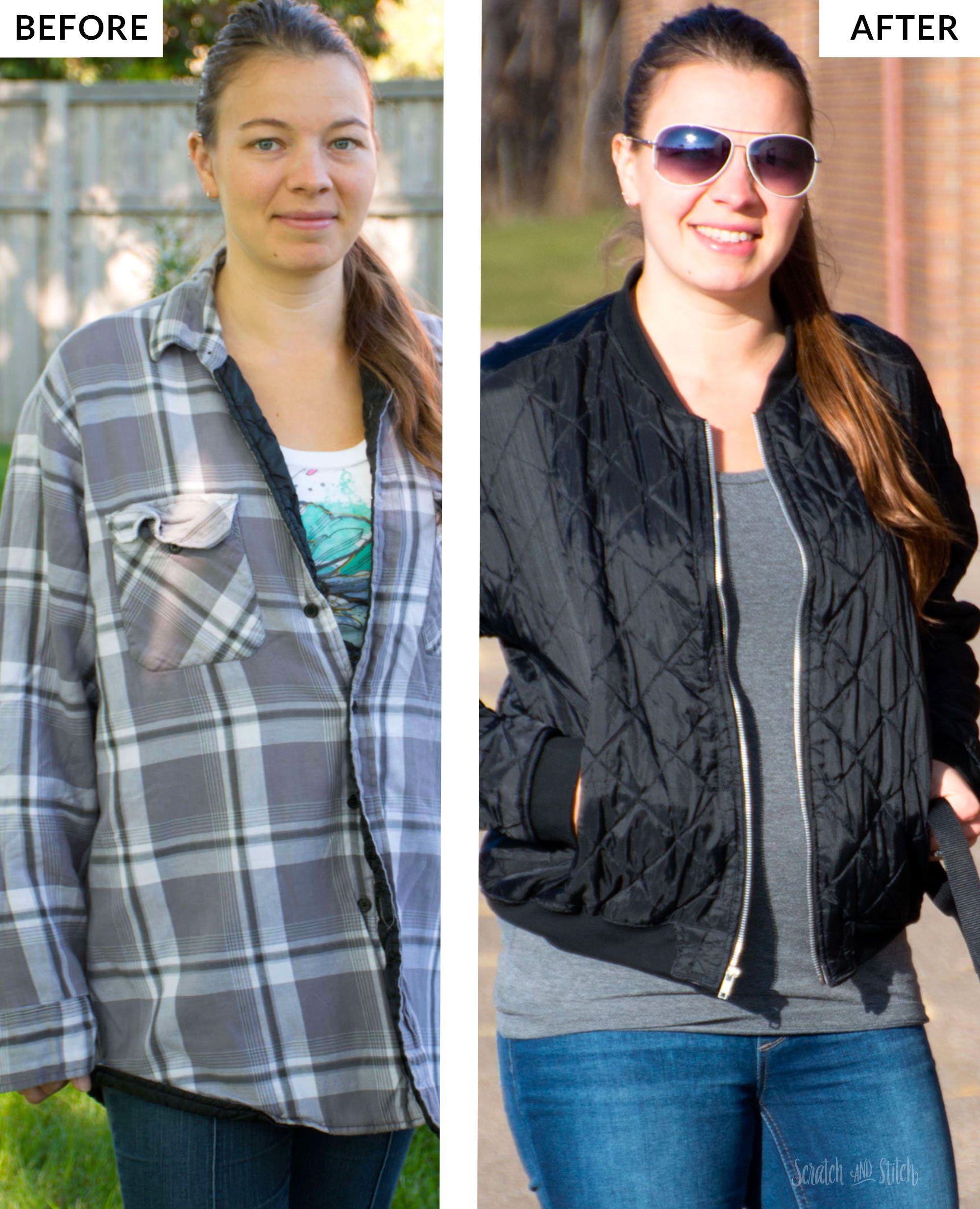 Flannel shirt ideas  Menus Flannel Shirt Refashion to Bomber Jacket on  Shirt refashion