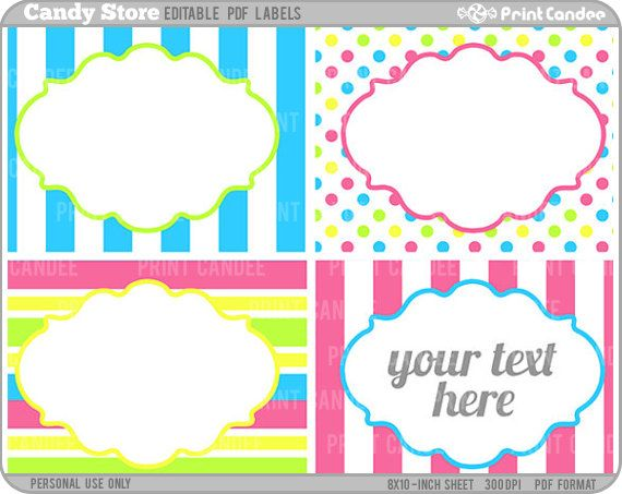 Rectangle - Editable PDF (8x10) - Candy Store Labels - Printable ...