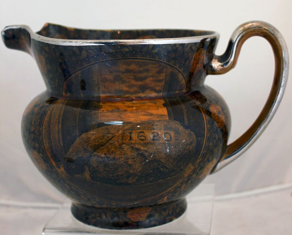 Rare Pottery Jug Pitcher Gold Black Plymouth Rock 1906 A S