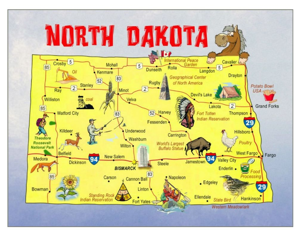North Dakota Tourist Map MAPS Pinterest Tourist map