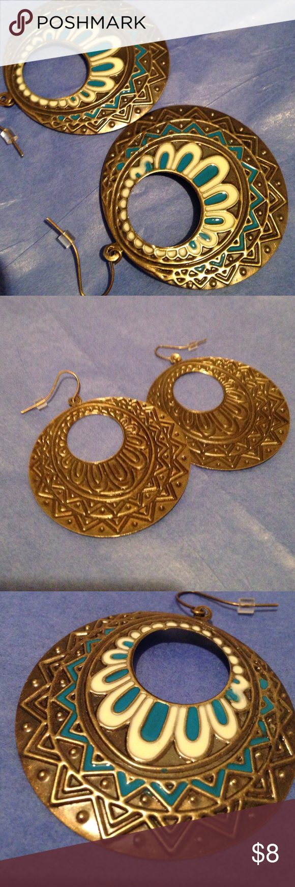 "Earrings Gold like metal. Bohemian design in whites, c golds, turquoise. 1 3/4"" across almost 2"" long, these are a nice size lightweight dangle.  Hypo-allergenic. New without tags Jewelry Earrings"