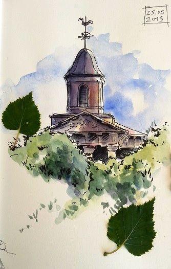 Eglise De La Gacilly Church Of La Gacilly Aquarelle Dessin