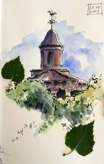 Eglise De La Gacilly Church Of La Gacilly Aquarelle Dessin
