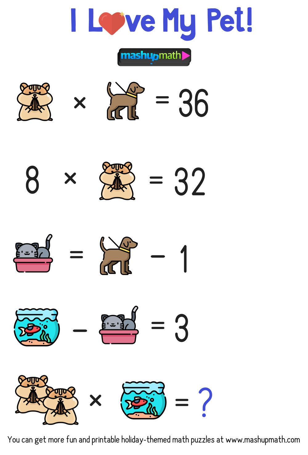 Celebrate National Pet Day In Your Classroom With These Free Math Puzzles Mashup Math Maths Puzzles Free Math Math [ 1477 x 1000 Pixel ]