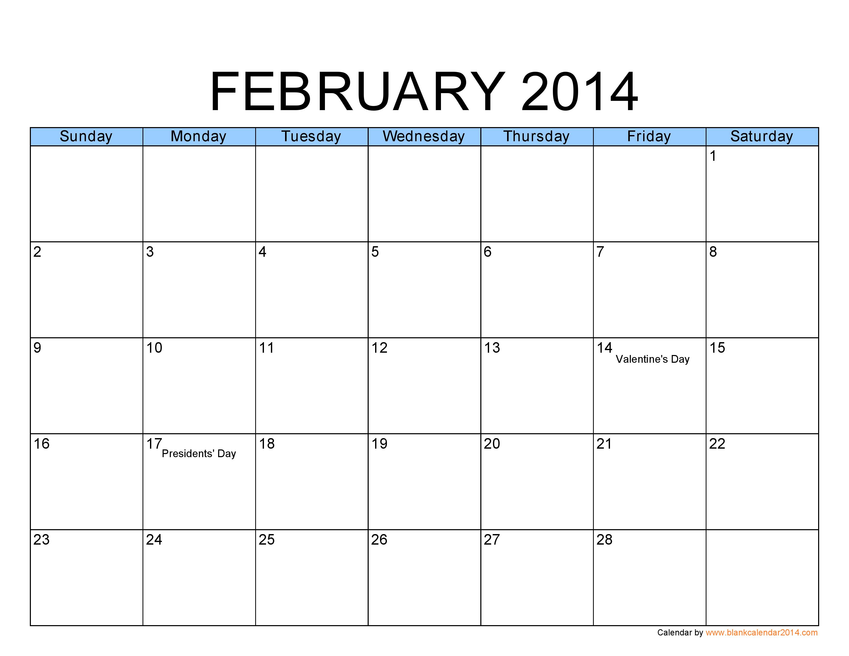Calendar Feb 2014 Pdf Calendar 2014 Free Pdf Calendar Template