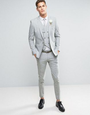 ASOS WEDDING Skinny Suit in Gray Crosshatch Nep | Best dressed ...