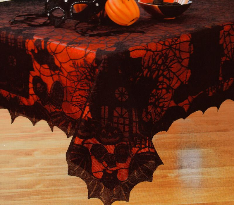 Halloween Black Spider Web Lace Haunted House Bat Fabric Tablecloth Orange  Liner