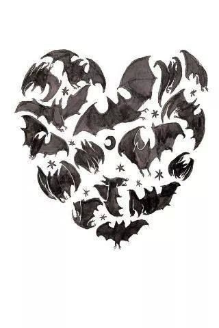 Gothic Designs black gothic bats heart tattoo design | gothic heart tattoos