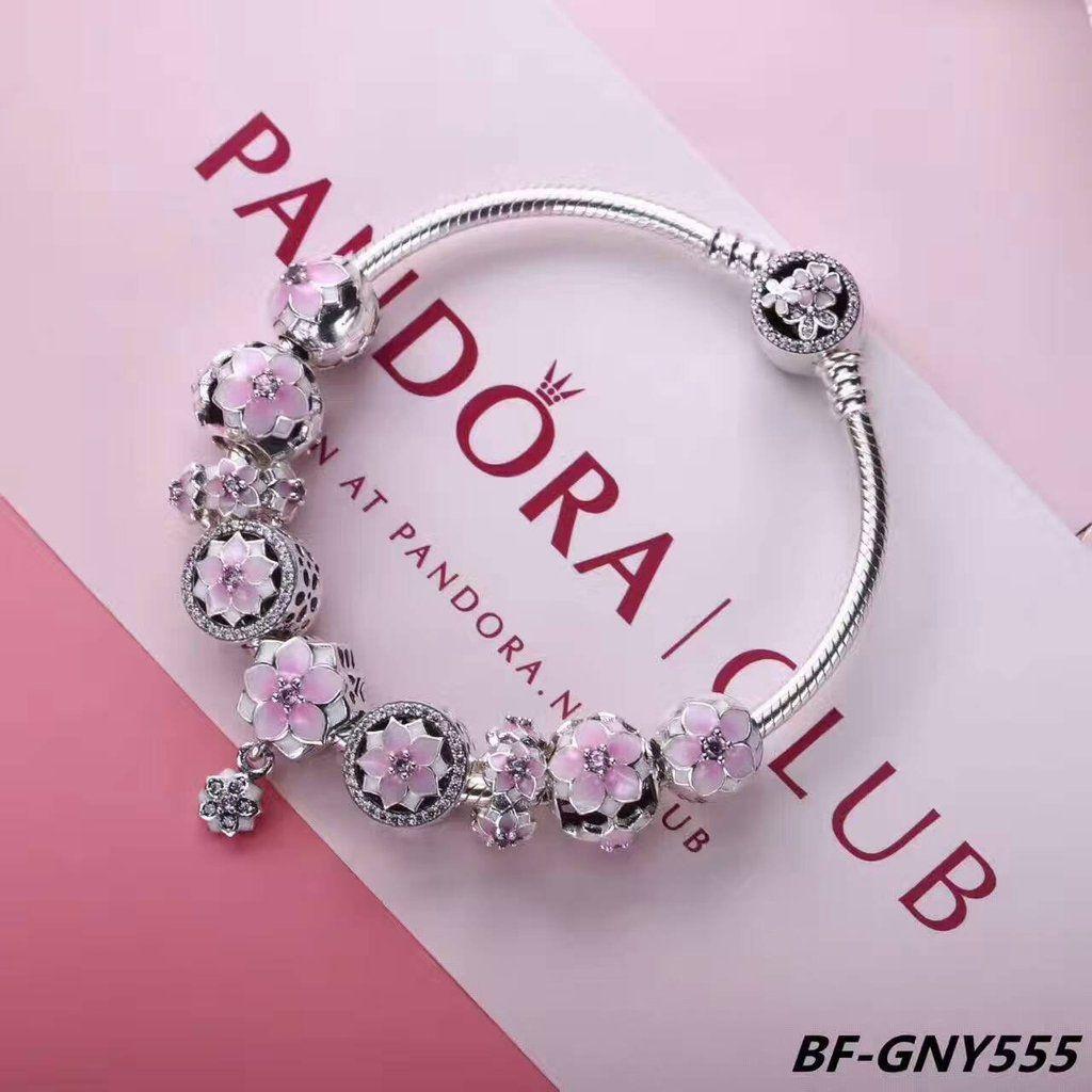 Pandora magnolia series charm bracelet with 9 pcs charms   Pandora ...