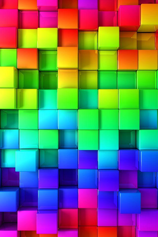 Rainbow Blocks Wallpaper Abstract 3d Rainbow Iphone