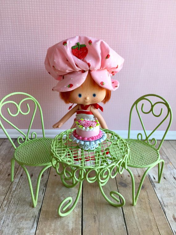 Dollhouse Bistro Set Strawberry Shortcake Table And Chairs