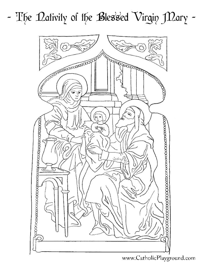 Nativity Of The Blessed Virgin Mary Coloring Page Catholic