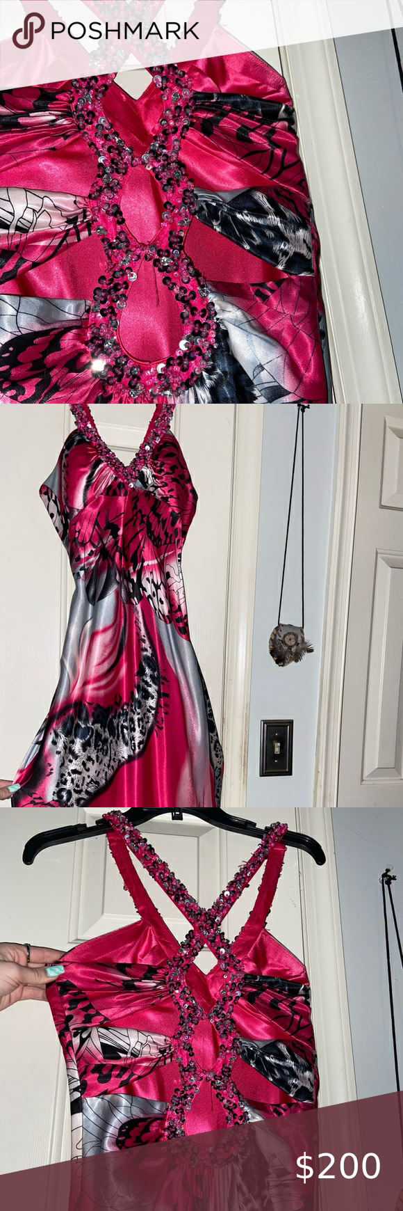 Pink Flow Dress With Jewel Embroidery Pink Prom Colors Pink Ladies