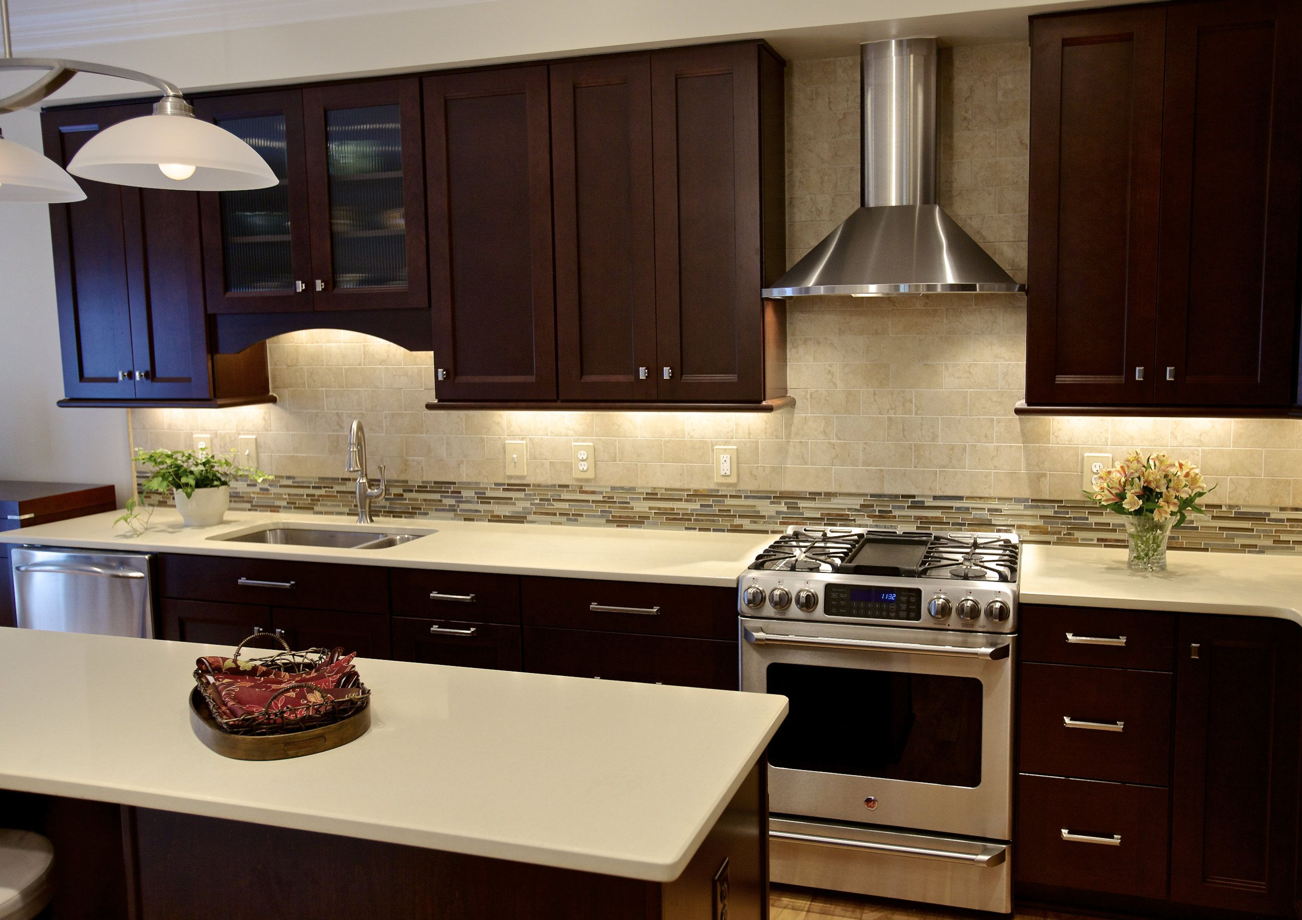 Kitchen Backsplash Cherry Cabinets White Counter Cherry Cabinets With Quartz Countertops  Waypoint Cabinets With A