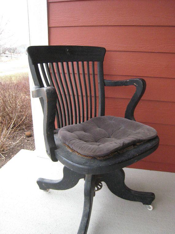 Antique Oak Desk Chair With Swivel Tilt Www.swoonantiques.etsy.com Batavia,