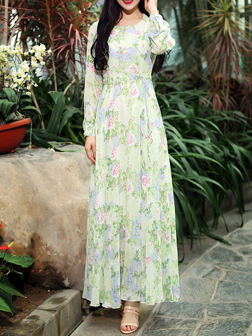 Robe patineuse longue imprimée floral manche longue ourlet