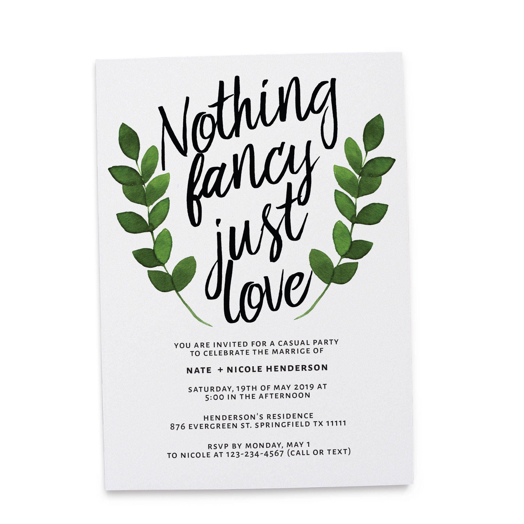 Nothing Fancy Just Love elopement wedding reception invitation ...