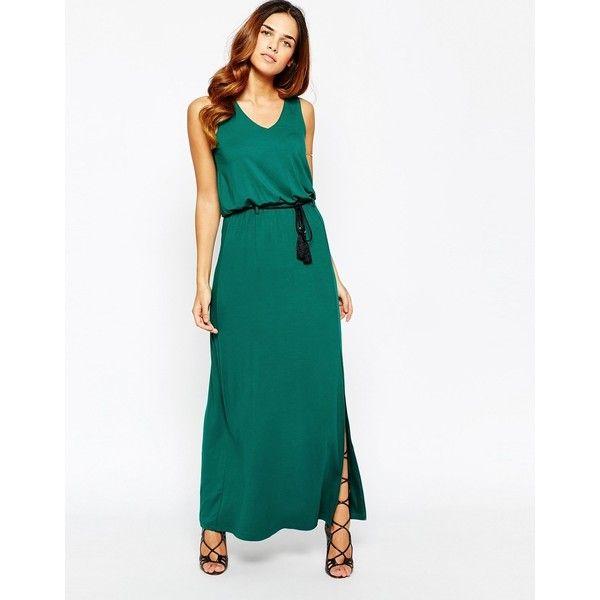 Warehouse Womens V Front Belted Maxi Dress Black - Dresses