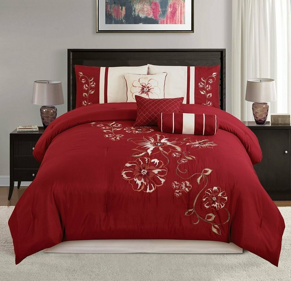 Chezmoi Collection 7p Red Floral Hibiscus Embroidery Beige Comforter Bedding Set