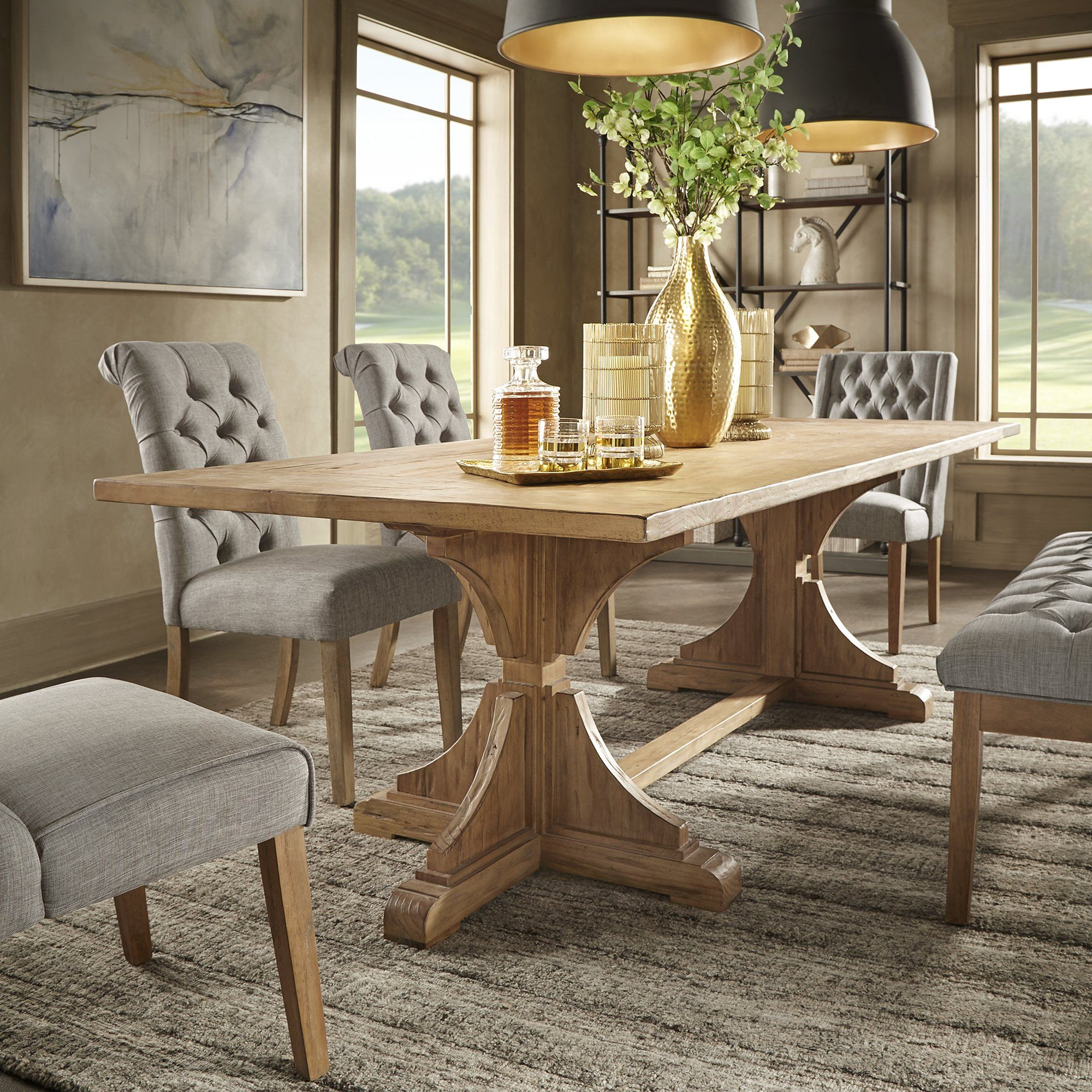 Yarla Reclaimed Natural Finish 96 Inch Trestle Dining Table By