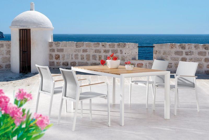 Best Gartentisch Paros Dining Teakholz Tisch Rechteckig Aluminium Teakholz Weiss Teakholz 160 X 90 X 76 Cm Gartenmobel Sets Gartenmobel Teakholz Tisch
