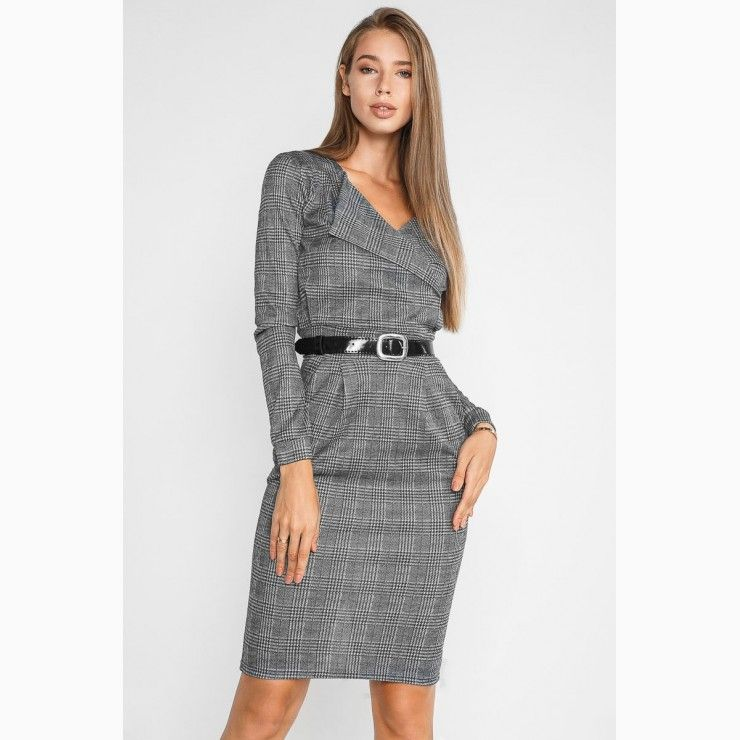 06ec27ef59a5a9 Plaid dress in business style Grey in 2019 | Women Fashion Looks at ...