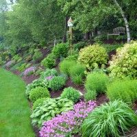 Sloping Backyard Home Landscape With Mulches And Ornamental Grases Sloped Landscaping Ideas Pictures