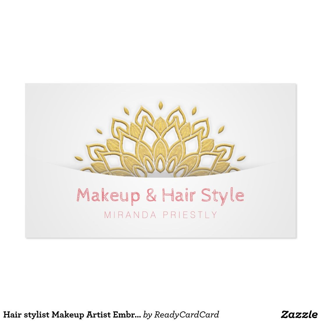 Hair stylist Makeup Artist Embroidery Floral Lotus Business Card ...