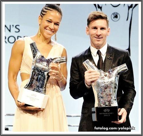 Leo Messi e Célia Sacic : Olá,  Eleitos melhor jogador e jogadora da Europa.  Hoje tem Barcelona e Málaga, a partir das 15:30 horário de Brasília, o jogo será transmitido pela Fox Sports.  Bjs | yolepink