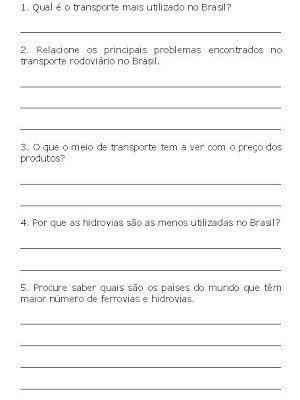 Banco De Atividades Geografia Meios De Transporte Meios De