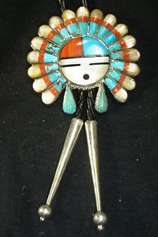 View Item: OLD ZUNI INLAY STERLING SILVER MULTI-STONE BOLO TIE DEAD PAWN NATIVE AMERICAN