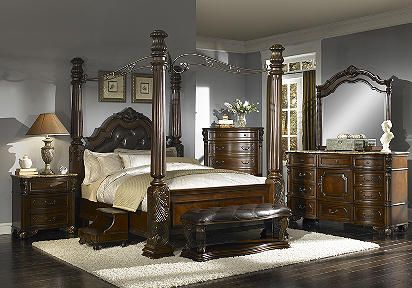 Southampton 6 Pc Canopy King Bedroom Rooms To Go 2399 99 King Bedroom Sets Bedroom Sets Rooms To Go Bedroom