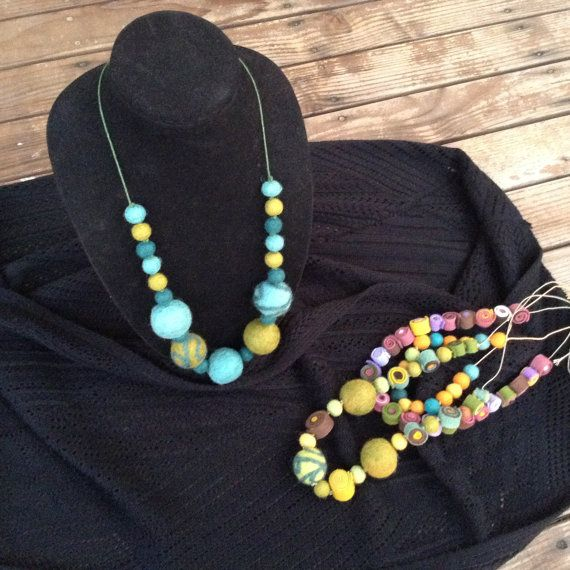 """29"""" Wool Felt Ball Necklace, Multi Colored, Wool Yarn String, Unique Signature Jewelry"""