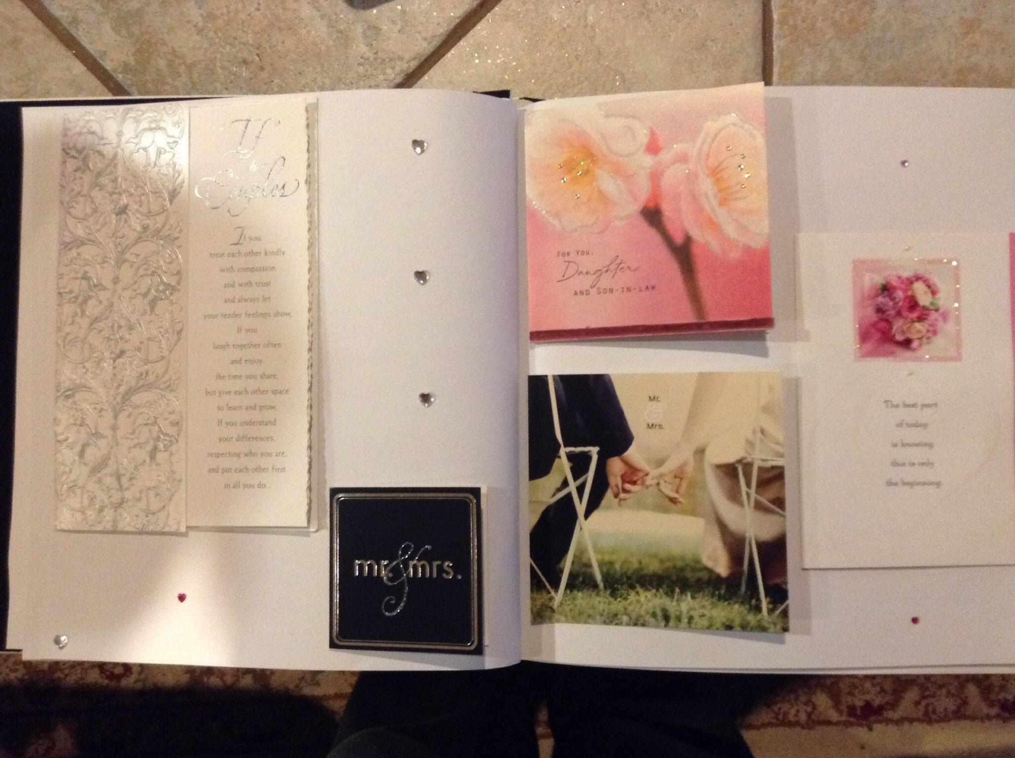 Stick all your shower and wedding cards in a scrap book! Better than keeping them in a box forever...